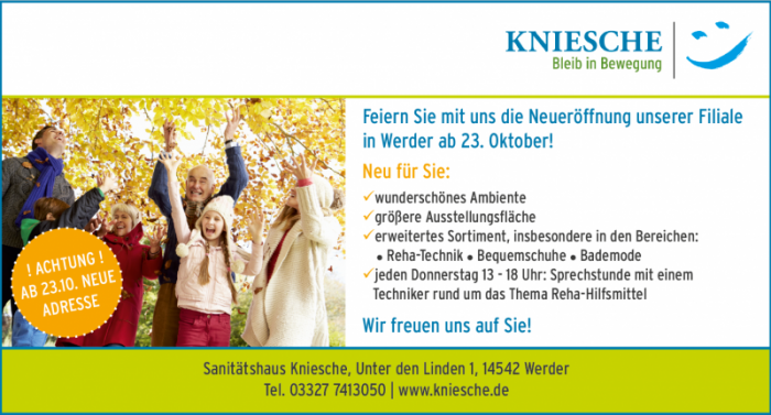 Neueröffnung am 23.10. in Werder