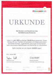 Urkunde Bjoern Schulz Stiftung